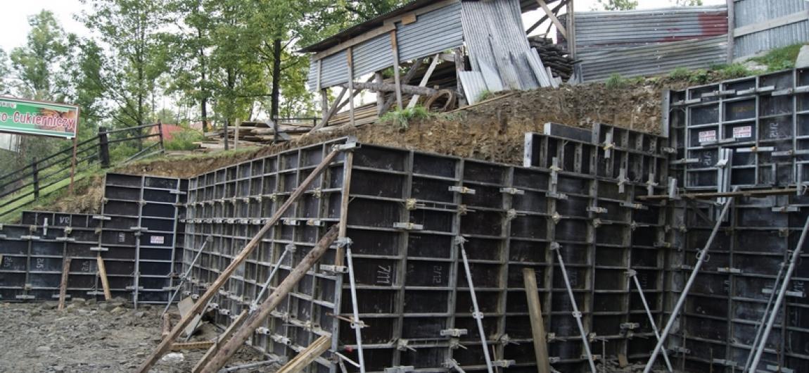 Construction of a retaining wall in Zakopane