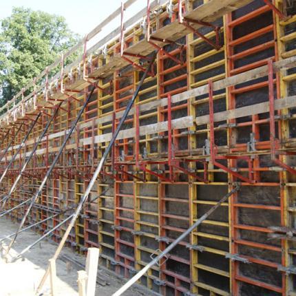 Construction of a retaining wall near Opole